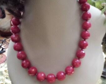 One strand faceted burgundy jade