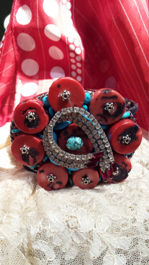 Vintage jeweled belt buckle made by petronella designs