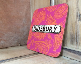 Personalised Paisley Location Coasters Set of 4