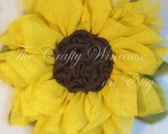 Sunflower Burlap Wreath, Spring Wreath, Summer Wreath, Customizable Wreath