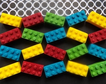 24 Large Edible Lego Sugar Fondant Building Bricks Cake Toppers Lego - Green, Red, Blue, Yellow