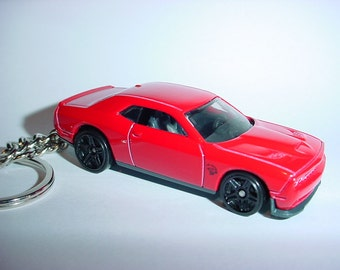 3D Dodge Challenger Hellcat SRT custom keychain by Brian Thornton keyring key chain finished in red/black color trim diecast metal body