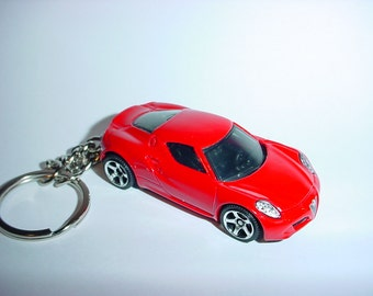3D Alfa-Romeo 4C custom keychain by Brian Thornton keyring key chain finished in red color stock trim
