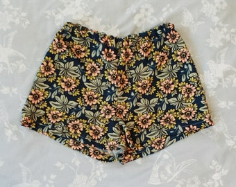 Handmade 70s floral print shorts, high waisted, UK sizes 4-18. Limited edition!