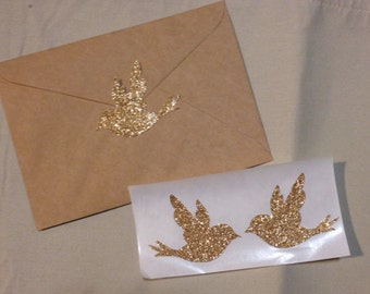 Large Rose Gold Glitter Bird Seals - Envelope Seals Dove Seals Stickers - Wedding Event Swallow Dove Seals Love Birds