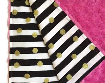 Baby girl minky blanket - black & gold baby blanket - baby shower gift - summer modern baby receiving blanket