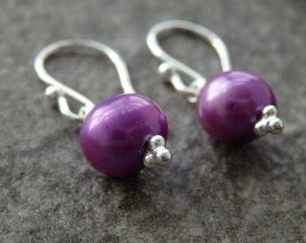 Purple Pearl Earrings, Purple Freshwater Pearls, Pearl Earrings, Unique Pearls, Bridesmaids Pearls