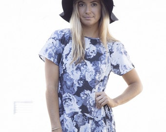 Blue floral dress, swing dress, clothing