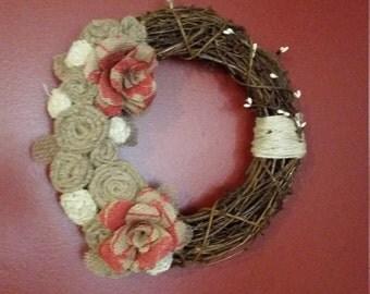 wreath, primitive wreath, burlap flower wreath, shabby chic wreath shabby chic, burlap wreath, grapevine wreath, primitive decor, home decor