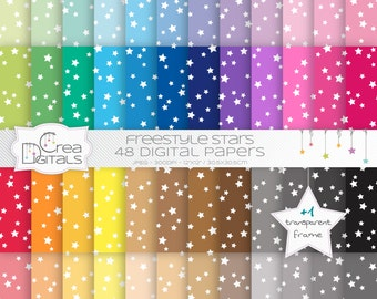 Freestyle stars rainbow paper pack - 48 digital papers - INSTANT DOWNLOAD