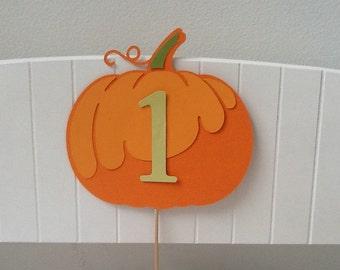 Vintage Pumpkin First Birthday Cake Topper