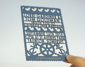 Anchors away laser cut wedding invitation and RSVP set