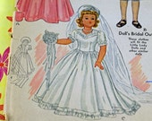 "Vintage Antique Doll Pattern, 1943 Little Lady Dolls, Wedding Gown, Culottes Suit, Wedding Gown for 18"" Doll #350 OK"
