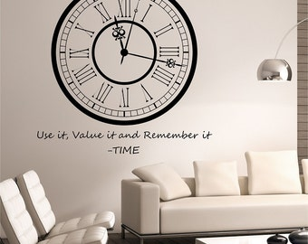 Clock Wall Decal Sticker Art Decor Bedroom Design Mural interior design motivation Family Use it Value it and remember it Time Quote Vinyl