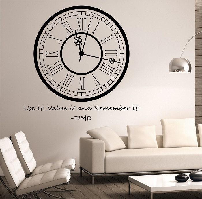 Clock wall decal sticker art decor bedroom design mural for Clock wall mural