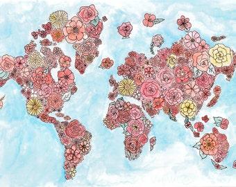 Flower Map Color Art Prints