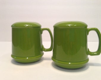 Funky Fun.Large Retro.Green Ceramic Salt and Pepper Shakers with Handles.Kitchen/Table Vintage Decor