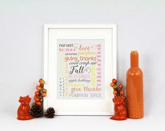 PRINTABLE - Fall Collage Typography Print