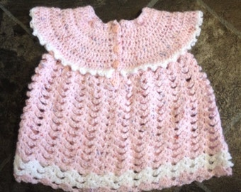 Crochet baby girl top in pink and white
