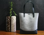 FREE SHIPPING and COINpurse Leather tote bag, handmade bag,felt bag,, black leather,  grey tote, tote, large tote bag, felt tote bag