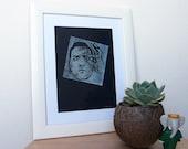 """STAMPA """"Alberto Sordi"""" - opera d'arte - quadro - illustrazione - con cornice - incorniciato"""