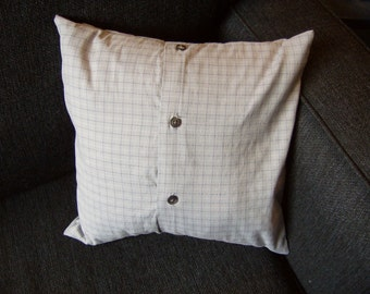 """Blue Button-Down Shirt Pillow Case - 12""""x12"""""""