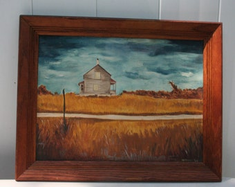 1960 Staten Island NY Farmhouse Original Oil Painting Signed