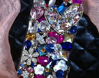 Girly Florwer Mixed Gems Bling Luxury Lovely Fashion Sparkles Charms Jewelled Crystals Rhinestones Diamonds Gems Hard Case for Mobile Phone