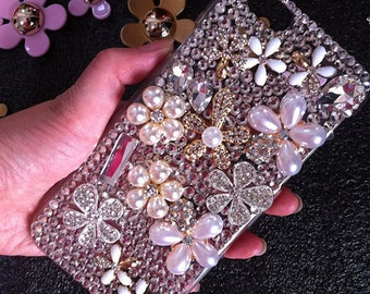 Luxury Bling Pearls Charms Floral Sparkles Girly Flowers Crystals Rhinestones Diamonds Gems Fashion Lovely Hard Cover Case for Mobile Phone