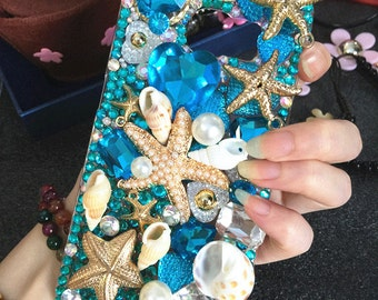 Luxury Bling Lovely Ocean Blue Starfish Shell Sparkles Crystals Rhinestones Diamonds Gems Pearls Fashion Hard Cover Case for Mobile Phones
