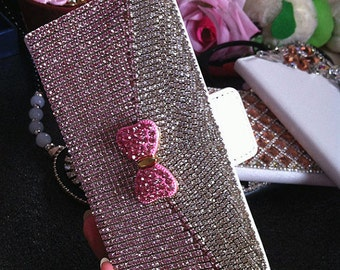 New Sparkles Bling Luxury Flip Slot Cards Holder Silver Gems Bow Wallet Leather Crystals Rhinestones Diamonds Fashion Case for Mobile Phones