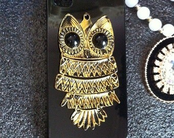 New Unique Bling Sparkles Fashion Punk Metal Bronze Owl Gems Crystals Rhinestones Diamonds Fashion Lovely Hard Cover Case for Mobile Phones