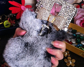 Bling Fashion Gray Soft Fluffy Fur Furry Luxury Golden Bow Letter D Pendant Crystals Gems Rhinestones Diamonds Hard Cover for Mobile Phones