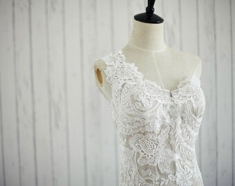 Vintage One/Single Shoulder Mermaid Lace Wedding Dress Champagne Lining Bridal Gown