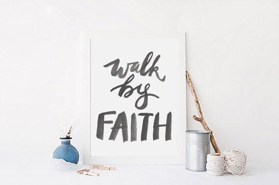 Walk by faith wall art decor bible verse spiritual quote for Faith decor