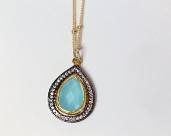 Aqua chalcedony pave pendant necklace* small aquamarine color chalcedony teardrop necklace