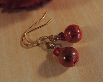 Orange beaded gold vermeil earrings