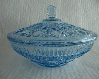 Vintage Indiana Icy Blue Glass Candy Dish
