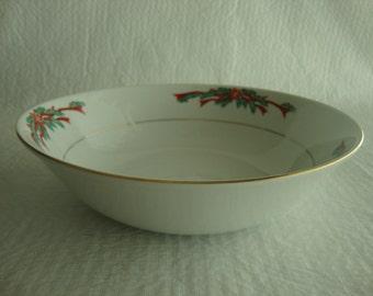 Fairfield Fine China Poinsetta Ribbon Vegetable Serving Bowl