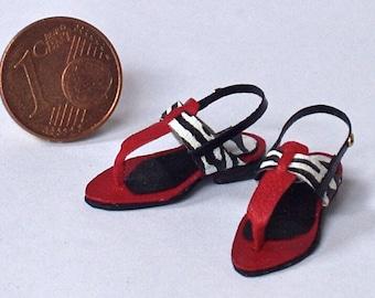 Flip flops sandals handmade in leather, various models, scale 1/12