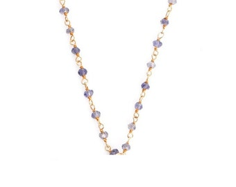 Iolite Wire Wrapped Gemstone Beaded Chain Necklace
