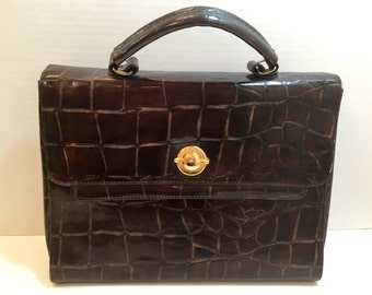 Gallery One vintage croc embossed briefcase with gold turn lock or closing latch and two compartments