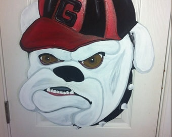 Georgia bulldog door hanger