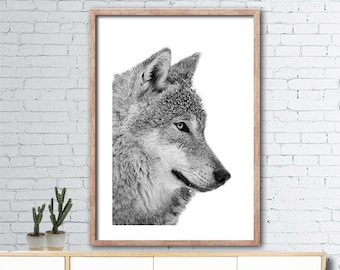 Printable black and white wolf poster - 50x70 - wolf wall art- monochrome wall art - wolf head printable - INSTANT DIGITAL DOWNLOAD