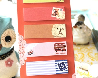 Cute RED Shabby Chic Travel Sticker Notes /Journal/ Scrapbooking