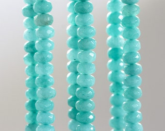 1478_Turquoise nephrite stones 8x5 mm, Natural beads, Mint nephrite, Faceted roundels, Blue beads, Natural turquoise beads,Roundel bead,Jade