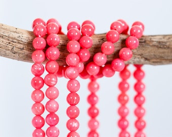 1441_Pink coral 4 mm, Natural coral beads, Round pink beads, Coral gemstones, Round beads, Natural gemstones,Round coral gemstones (001441).