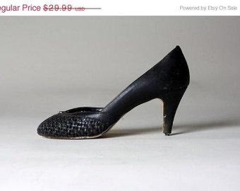 ON SALE Vtg 70s † Black Woven Aigner Peep Toe Heels 7.5