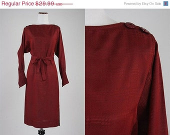 ON SALE Vintage 70s/80s Burgundy Houndstooth Secretary Dress Avant Garde S
