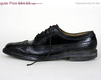 ON SALE Vintage 60s Florsheim Imperial Black Leather Wingtip Oxford Shoes 11 B